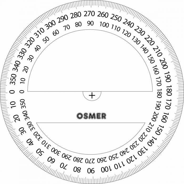 image relating to Printable Protractor 360 identified as OSMER 360 Diploma 10CM PROTRACTOR - PR10360