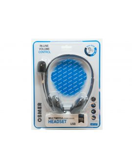 HEADSET WITH MIC, VOLUME CONTROL & MUTE FUNCTION - USB PLUG - HP107