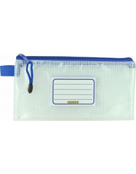 CLEAR MESH CASE - 23 X 12CM - BLUE ZIP - M2312B