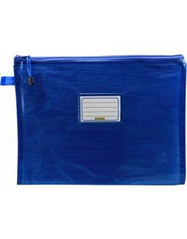 TINTED BLUE MESH CASE - A4 - 36 X 27CM - BLUE ZIP - MA4B22