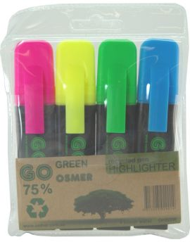 OSMER RECYCLED HIGHLIGHTERS - WALLET OF 4 - NEW - OH929W