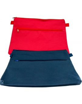 POLYESTER 600D HIGH QUALITY - 2 ZIP - RED & BLUE - 37 X 26 CM - POL3726RB