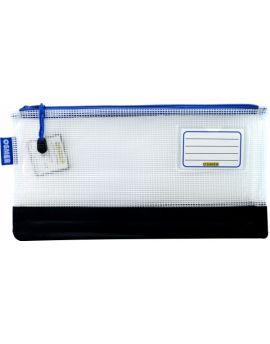 REINFORCED NYLON BOTTOM - CLEAR MESH CASE 34 X 17.5CM - BLUE ZIP - RM3417B