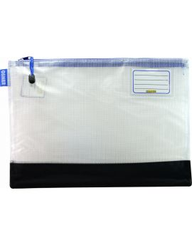 REINFORCED NYLON BOTTOM - CLEAR MESH CASE 37.5 X 27CM - BLUE ZIP - RMA4B