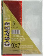 """9"""" x 7"""" CLEAR BOOK COVER WITH COLOURED RETURNS - PACK OF 5 - BC97"""