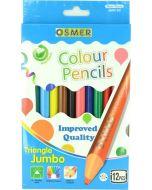 JUMBO TRIANGULAR COLOUR PENCILS - 12 COLOURS - JUM12C