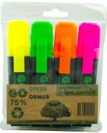 OSMER RECYCLED HIGHLIGHTERS - WALLET OF 4 - STANDARD - OH919W