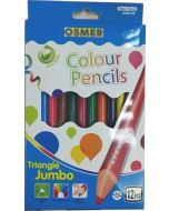 JUMBO TRIANGULAR COLOUR PENCILS - 12 COLOURS - JUM12C
