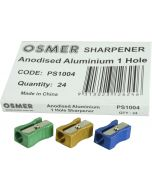 1 HOLE ALUMINIUM SHARPENER - BOX OF 24 - PS1004