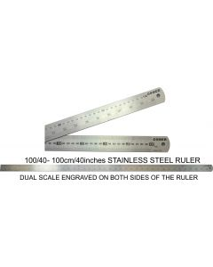 OSMER STAINLESS STEEL RULE - 100cm/40inches - DUAL SCALE - 100/40