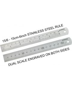 OSMER STAINLESS STEEL RULE - 15cm/6inch DUAL SCALE - 15/6