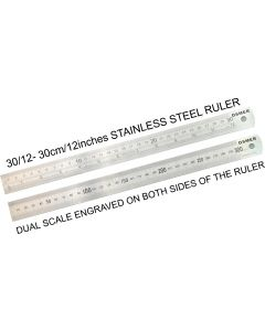 OSMER STAINLESS STEEL RULER - 30cm/12inches DUAL SCALE - 30/12