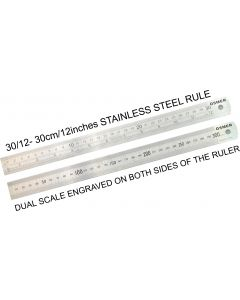 OSMER STAINLESS STEEL RULE - 30cm/12inches DUAL SCALE - 30/12