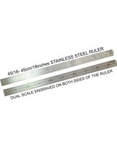 OSMER STAINLESS STEEL RULER - 45cm/18inch DUAL SCALE - 45/18