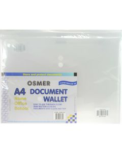 DOCUMENT WALLETS - A4 - CLEAR - PACK OF 10 - A4W1013