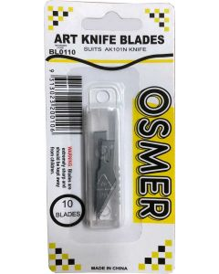 OSMER ART KNIFE BLADES - 6MM - SUIT AK101N - PACK OF 10 - BL0110