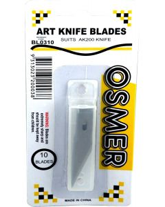 OSMER ART KNIFE BLADES - 8MM - SUIT AK200 - PACK OF 10 - BL0310