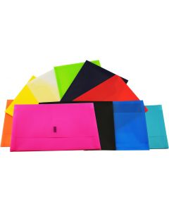 PLASTIC DOCUMENT WALLETS - FOOLSCAP - HOT PINK - DWF12