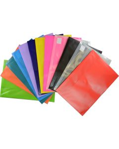 PLASTIC DOCUMENT WALLETS - FOOLSCAP - ASSORTED - DWF19