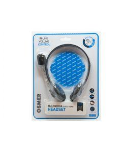 HEADSET WITH MIC & VOLUME CONTROL - SINGLE 3.5MM PLUG - HP103