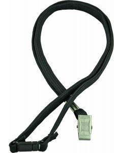 LANYARD - ALLIGATOR CLIP WOVEN WITH SAFETY RELEASE - BLACK - LA101