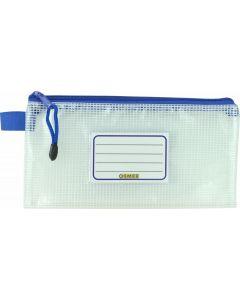 CLEAR MESH CASE - 23 X 12CM - BLUE ZIP - M2312B