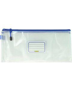 CLEAR MESH CASE - 34 X 15CM  - BLUE ZIP - M3415B