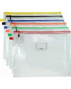 CLEAR MESH CASE - A3 - 46.5 X 35.5CM - ASSORTED COLOURS ZIP - MA3A