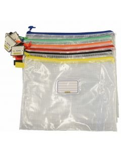 CLEAR MESH CASE - A3 - 46.5 X 35.5CM - ASSORTED ZIPS - MA3A