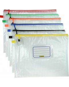 CLEAR MESH CASE - A4 - 36 X 27CM - ASSORTED COLOURS ZIP - MA4A