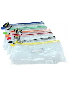 CLEAR MESH CASE - A4 - 36 X 27CM - ASSORTED ZIPS - MA4A