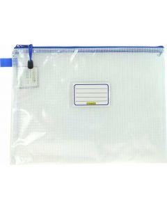 CLEAR MESH CASE - A4 - 36 X 27CM - BLUE ZIP - MA4B