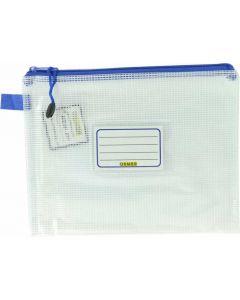 CLEAR MESH CASE - A5 - 26 X 20CM - BLUE ZIP - MA5B