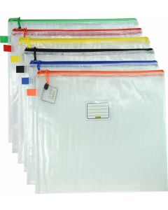 CLEAR MESH CASE - B4 - 39 X 34CM - ASSORTED COLOURS ZIP - MB4A