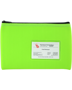 NEOPRENE NAME CARD PENCIL CASE - 1 ZIP - 23 X 15.5CM - GREEN - N2315G