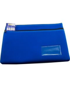 NEOPRENE NAME CARD PENCIL CASE - 2 ZIP - 35.5 X 26CM - BLUE - N3526B2