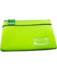 NEOPRENE NAME CARD PENCIL CASE - 2 ZIP - 35.5 X 26CM - GREEN - N3526G2