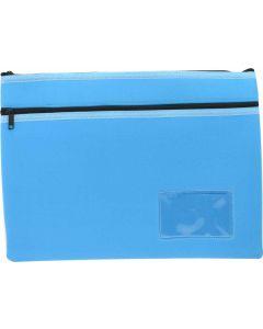 NEOPRENE NAME CARD PENCIL CASE - 2 ZIP - 35.5 X 26CM - LIGHT BLUE - N3526LB2
