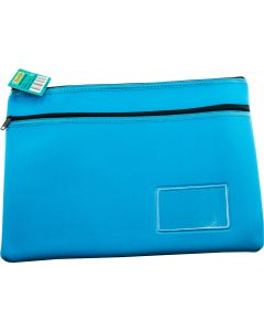 NEOPRENE NAME CARD PENCIL CASE - 2 ZIP - 35.5 X 26CM - LIGHT BLUE - N3526LB2