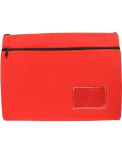 NEOPRENE NAME CARD PENCIL CASE - 2 ZIP - 35.5 X 26CM - RED - N3526R2