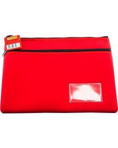 NEOPRENE NAME CARD PENCIL CASE - 2 ZIP - 35.5 X 26CM - RED - N3526R2
