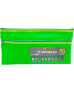 CLOTH BACKED PU WITH ALPHABET NAME CARD INSERT - 2 ZIP - 35 X 18CM - GREEN - NAM3518G2