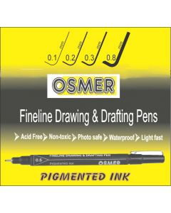 OSMER FINE LINE DRAWING & DRAFTING PEN - DOZEN - 0.8mm - OD81