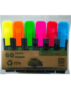 OSMER RECYCLED HIGHLIGHTERS - WALLET OF 6 - OH9196