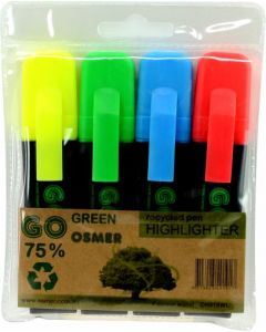 OSMER RECYCLED HIGHLIGHTERS - WALLET OF 4 - LITERACY - OH919WL