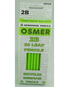 OSMER  RECYCLED NEWSPAPER PENCILS - GRAPHITE LEAD 2B - BOX OF 20 - ORP202B