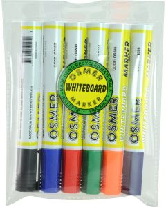 OSMER WHITEBOARD MARKER - 6 COLOUR WALLET - OS519W6