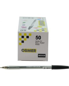 OSMER CAP MODEL MEDIUM TIP 1.0mm BALL PEN BOX 50's - BLACK - OS7150