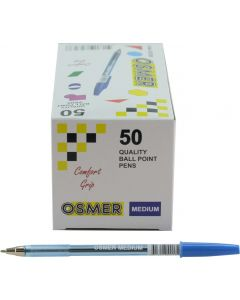 OSMER CAP MODEL MEDIUM TIP 1.0mm BALL PEN BOX 50's - BLUE - OS7250