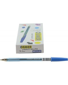 OSMER CAP MODEL BALL PEN MEDIUM 1.0mm BALL - DOZEN - BLUE - OS72